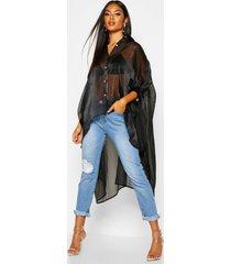 oversized organza maxi blouse, zwart