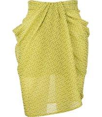 balmain lime green mini skirt with monogram and draping