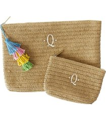 cathy's concepts personalized straw clutch set with tassel