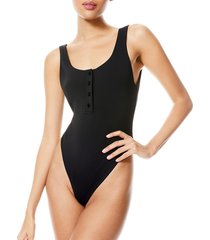 alice + olivia women's manda button-front knit bodysuit - black - size xs
