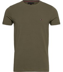 stretch slim fit tee t-shirts short-sleeved grön tommy hilfiger