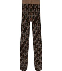 fendi hazelnut tights for girl with double ff
