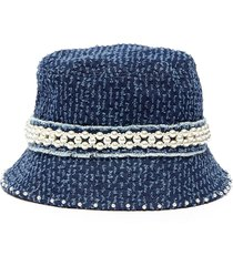 pearl embellished small denim bucket hat