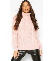 tall high neck chunky cable knit sweater, coral