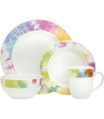 godinger tie dye multi color 16-pc dinnerware set
