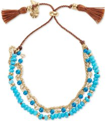 lucky brand gold-tone & brown cord beaded triple-row slider bracelet