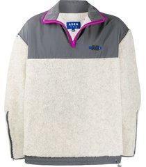 ader error fleece zip-front sweatshirt - white