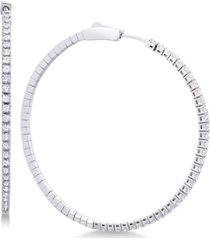 diamond micro-pave flexie hoop earrings (1 ct. t.w.) in 14k white gold