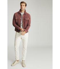 reiss scott - suede western jacket in plum, mens, size xxl