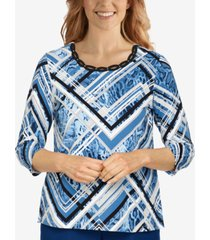 alfred dunner petite classics animal-patchwork top