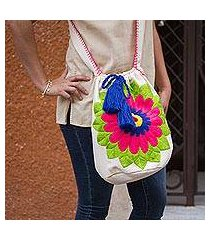 cotton blend bucket bag, 'grand gerbera' (mexico)