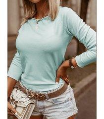 casual simple diseño redondo cuello suéter de manga larga