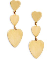 14k gold heart dangle drop earrings