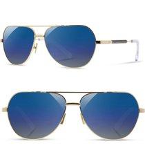 shwood 'redmond' 58mm polarized aviator sunglasses in gold/ebony /blue flash at nordstrom