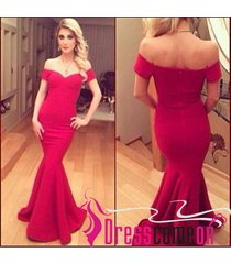 mermaid bridesmaid prom dress,mermaid red evening party dress red formal gown h7