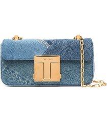 tom ford medium 001 denim-patchwork shoulder bag - blue