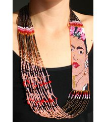 "ne710 frida kahlo fair trade necklace crystal glass hand beaded 22"" fair trade"