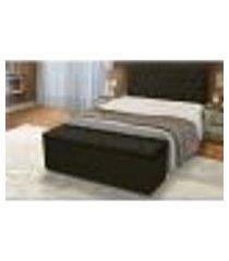 cabeceira e calçadeira baú casal 140cm para cama box sofia corino preto - ds móveis