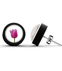 kolczyki drewniane - tulipan - czarne