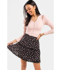 bianca tiered ditsy floral mini skirt - black