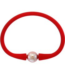 effy freshwater cultured pearl (11 mm) silicone bracelet. available in grey, tan or red