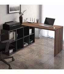 mesa para escritório com armário nero 8 nichos ipê/preto - artany