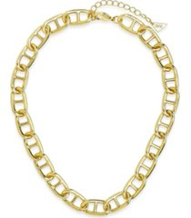 women's interlocking anchor chain gold plated choker necklace
