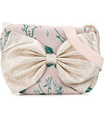 hucklebones london bow-embellished floral-print shoulder bag - pink