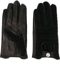 ernest w. baker crochet panelled gloves - black