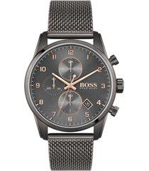 boss men's skymaster chronograph gray stainless steel mesh bracelet watch 44mm