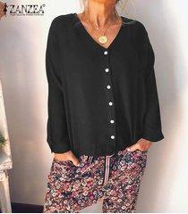zanzea para mujer de manga larga con cuello en v tapas flojas camisas botón frontal de la blusa del tamaño extra grande -negro