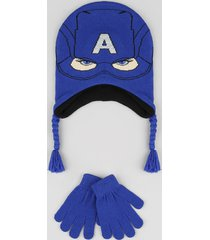 kit infantil de gorro capitão américa + luva em tricô azul royal