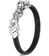 legends naga' sapphire sterling silver leather double row bracelet