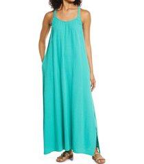 women's caslon textured cotton sleeveless maxi dress, size x-large - green