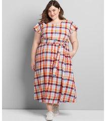 lane bryant women's button-front plaid fit & flare dress 18 soiree plaid