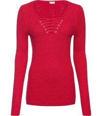 maglione a costine con stringatura (rosso) - bodyflirt boutique