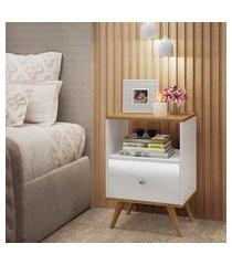 mesa de cabeceira fellicci móveis rc01 retrô 1 gaveta nogal/branco