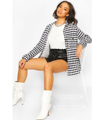 dogtooth boucle oversized shirt jacket, black