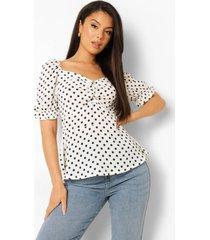 blouse met stippen, hartvormige hals en pofmouwen, ivory