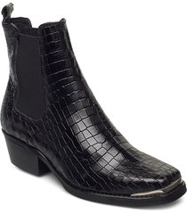 elle croco shoes boots ankle boots ankle boot - heel svart pavement