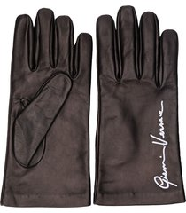 versace embroidered logo gloves - black