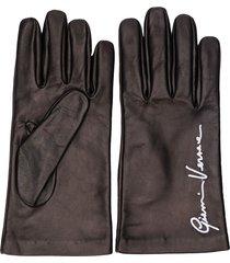 versace embroidered logo gloves - black