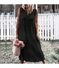 zanzea vestido de playa sin mangas con cuello en v para mujer vestido de camisa a media pierna suelta para mujer -negro