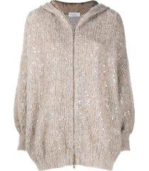 brunello cucinelli mohair sequin-embellished hoodie - neutrals