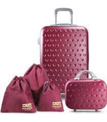 conjunto mala e frasqueira love vinho com organizador de malas de 3 peças jacki design