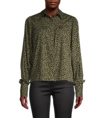 walter baker women's printed long-sleeve shirt - olive abstract - size l