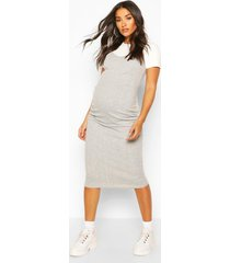 maternity 2 in 1 t-shirt midi dress, grey marl