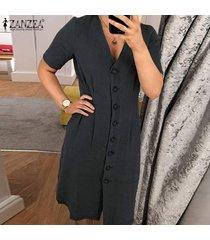 zanzea vestido de camisa básica de verano con cuello en v para mujer vestido de oficina para mujer -gris oscuro