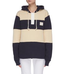 colourblock face patch cotton hoodie