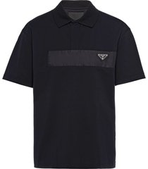 prada triangle logo polo shirt - black